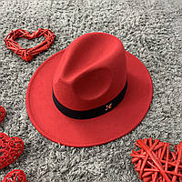 Шляпа Федора унисекс с устойчивыми полями в стиле Maison Michel красная, фото 1