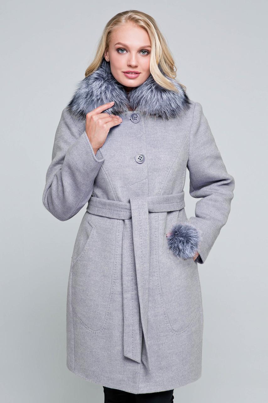 Пальто женское шерстяное зимнее с мехом Надин светло-серый цвет