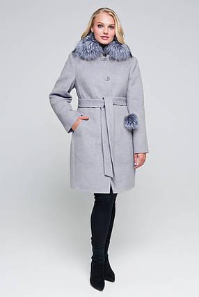 Пальто женское шерстяное зимнее с мехом Надин светло-серый цвет, фото 2