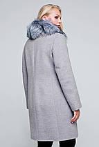 Пальто женское шерстяное зимнее с мехом Надин светло-серый цвет, фото 3