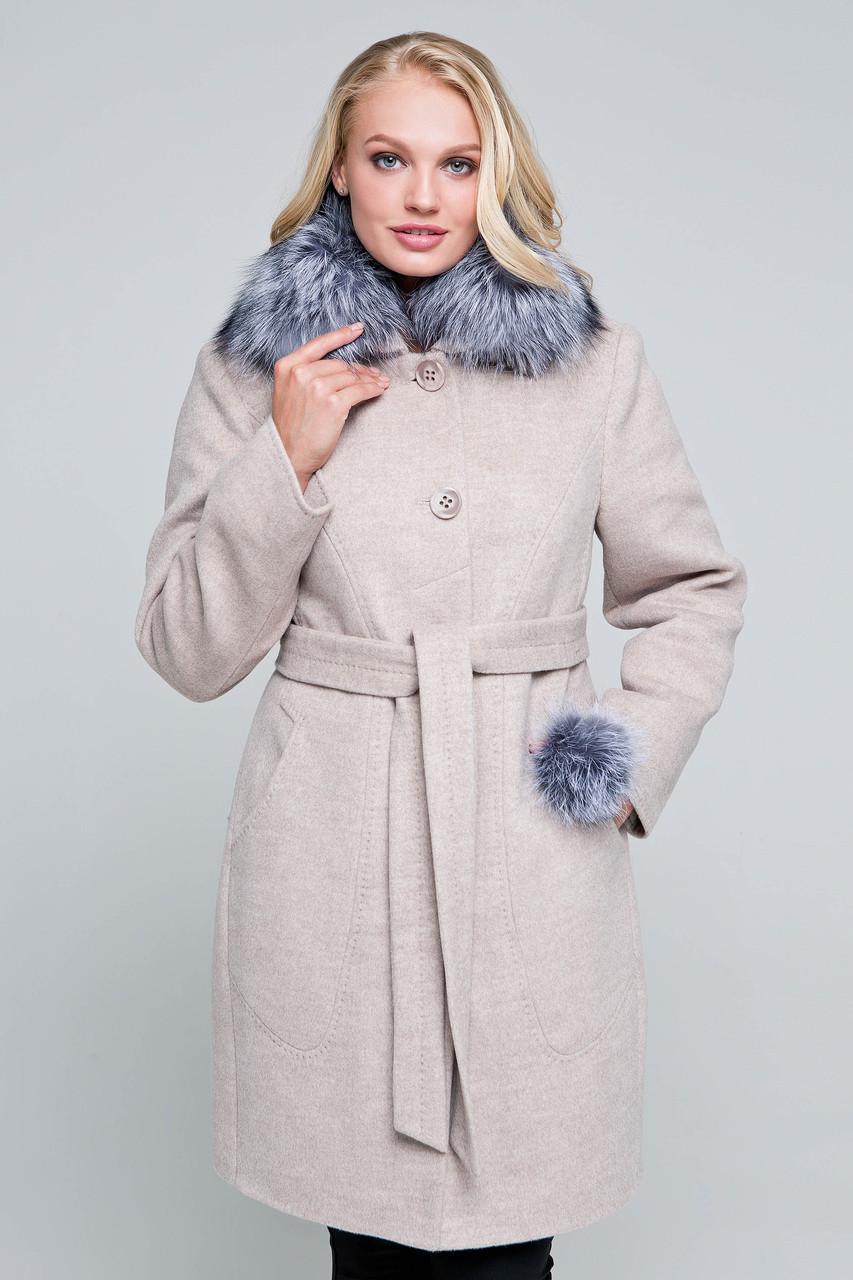Пальто женское шерстяное зимнее с мехом Надин бежевый цвет