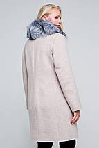 Пальто женское шерстяное зимнее с мехом Надин бежевый цвет, фото 3