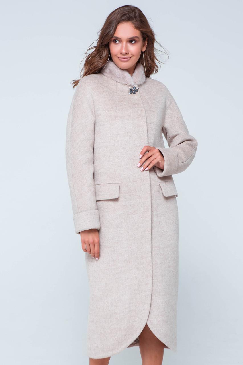 Пальто женское зимнее с мехом Мона бежевый цвет