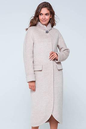 Пальто женское зимнее с мехом Мона бежевый цвет, фото 2