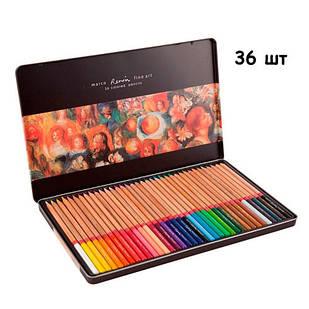 Набор разноцветных карандашей 36 шт, металлический кейс Marco Renoir