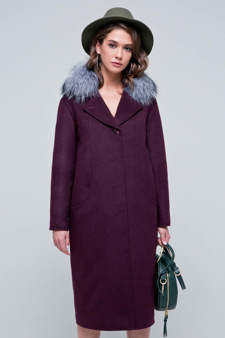 Пальто женское шерстяное зимнее с мехом Кортни бордо цвет