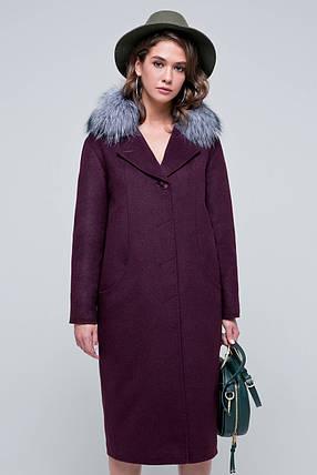 Пальто женское шерстяное зимнее с мехом Кортни бордо цвет, фото 2