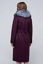 Пальто женское шерстяное зимнее с мехом Кортни бордо цвет, фото 3