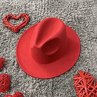 Шляпа Федора унисекс с устойчивыми полями Original красная
