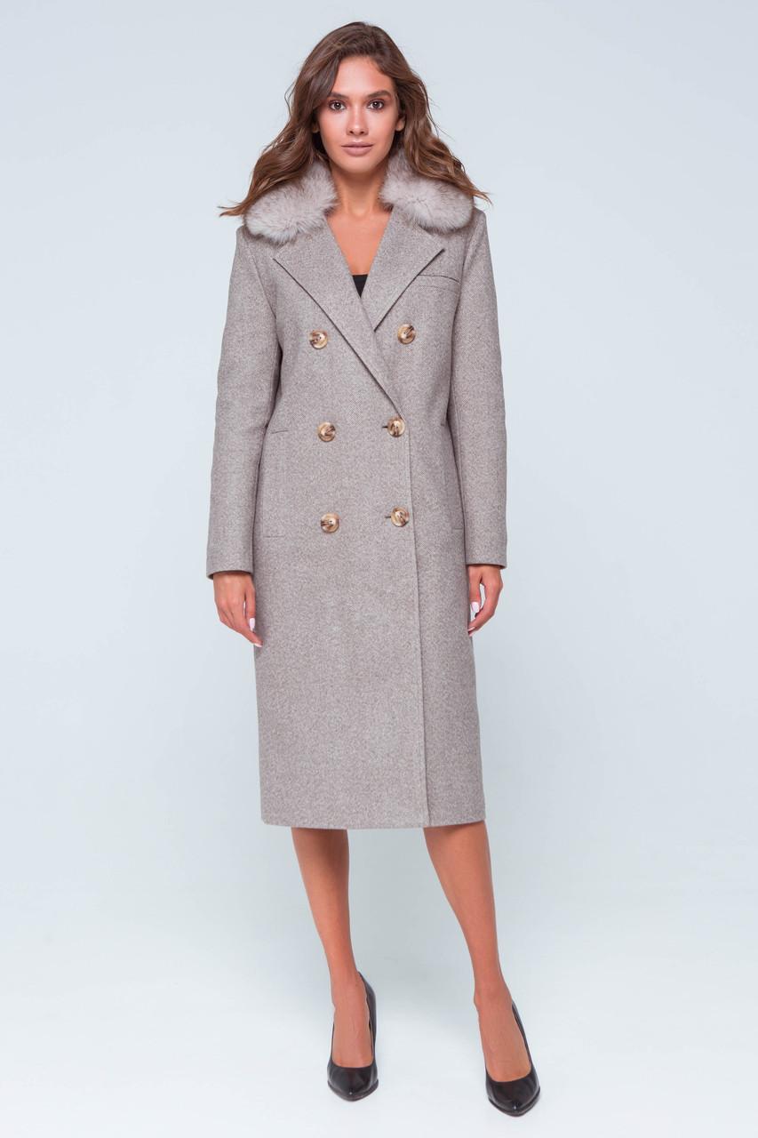 Пальто женское шерстяное зимнее с мехом Зара коричневый цвет