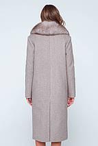 Пальто женское шерстяное зимнее с мехом Зара коричневый цвет, фото 2