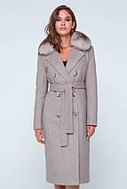 Пальто женское шерстяное зимнее с мехом Зара коричневый цвет, фото 3