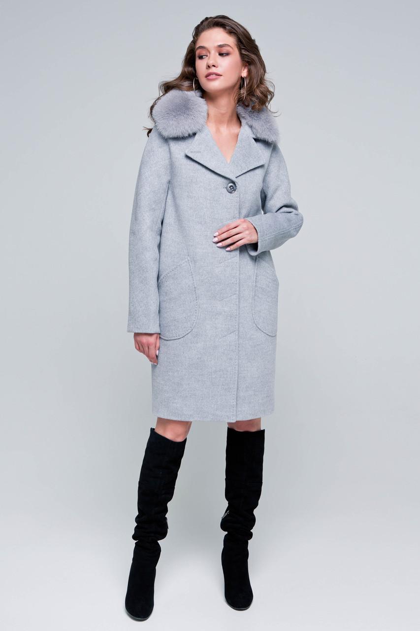 Пальто женское шерстяное зимнее с мехом Бонни светло-серый цвет