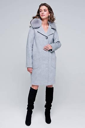 Пальто женское шерстяное зимнее с мехом Бонни светло-серый цвет, фото 2