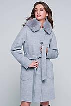 Пальто женское шерстяное зимнее с мехом Бонни светло-серый цвет, фото 3