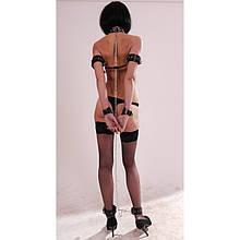Набор БДСМ из натуральной кожи для бондажа, наручники, цепь, ошейник, манжеты на ноги, плечи. B-1