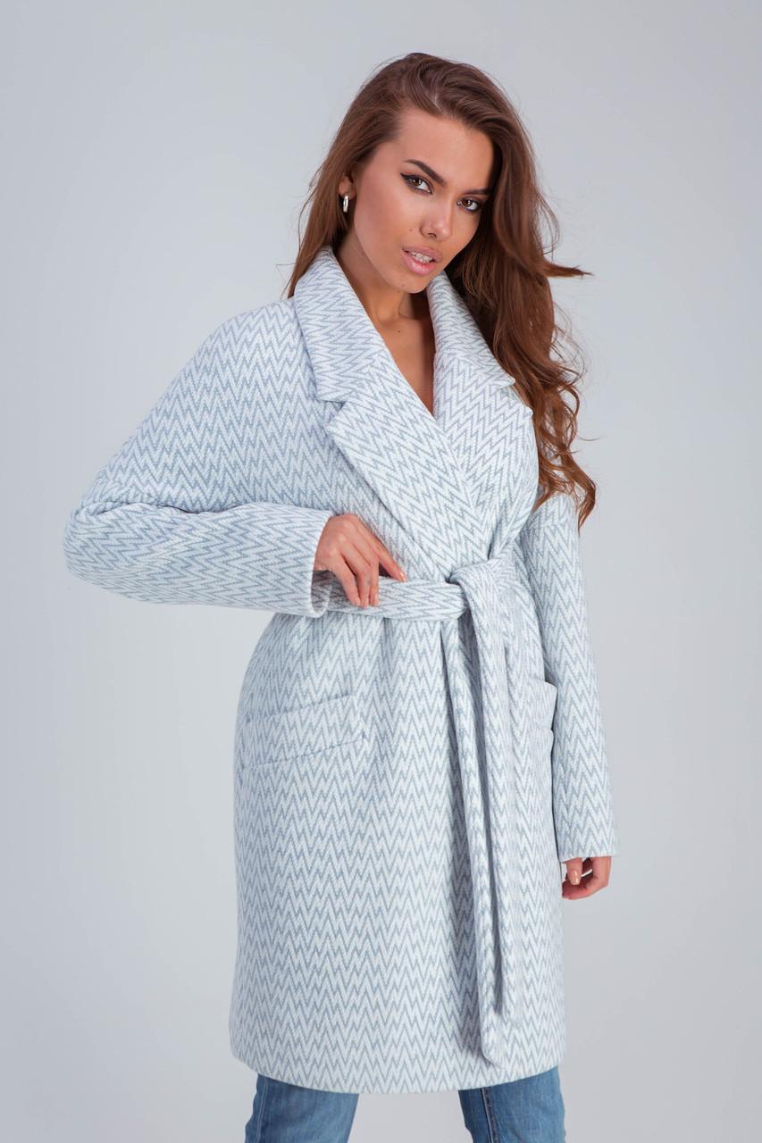 Пальто женское демисезонное Ясмин голубой цвет