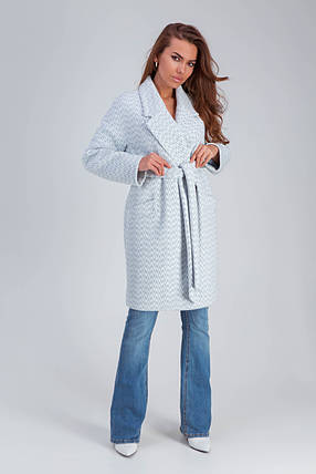 Пальто женское демисезонное Ясмин голубой цвет, фото 2
