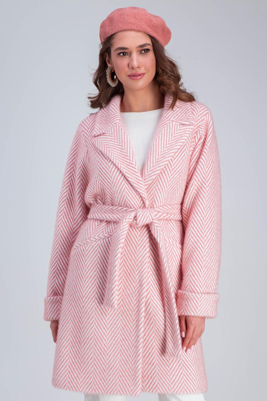 Пальто женское шерстяное сезон весна-осень Эмма розовый цвет