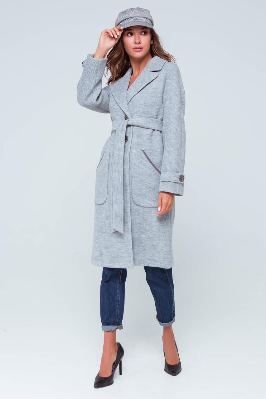 Пальто женское демисезонное Элла светло-серый цвет