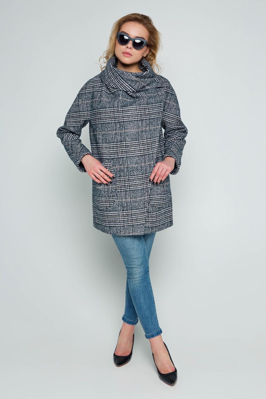 Пальто женское демисезонное Челси серо-синий цвет