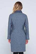 Пальто женское демисезонное Флор серо-голубой цвет, фото 3