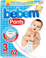Подгузники-трусики Bebem 3 midi 6-11 кг JUMBO 62 шт (6224009614882)
