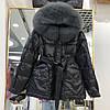 Куртка женская стеганая на пуху с натуральным мехом черная, размер S, М, опт