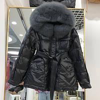 Куртка женская стеганая на пуху с натуральным мехом черная, размер S, М, опт, фото 1