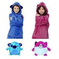 Детская толстовка-халат плед трансформер с капюшоном и рукавами Huggle Pets Hoodie, Подарок ребенку, подростку