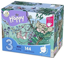 Подгузники детские Bella Baby Happy Green Tea Midi 5-9 кг 2X72 ШТ (5900516017323)
