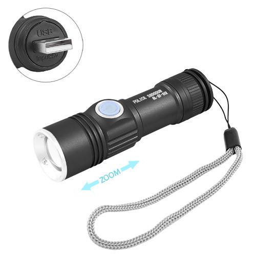 Фонарь Police SY912-XPE, ЗУ USB, встроенный аккумулятор, zoom, ремешок
