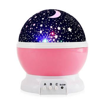 Проектор звездного неба, детский ночник, Star Master Dream Rotating, вращающийся, цвет - розовый
