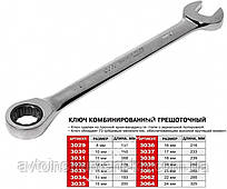 Ключ рожково-накидной с трещоткой 22мм 3062 JTC