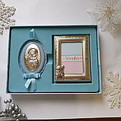 Набір дитячій срібна ікона Богоматері та рамочка для хлопчика