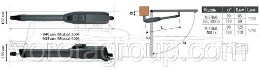 Привод для распашных ворот Faac GENIUS MISTRAL 300 LS