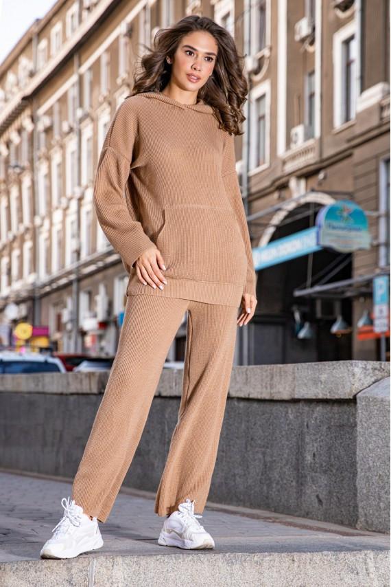 Модный теплый вязаный костюм оверсайз с капюшоном 42-48 размер Кемел