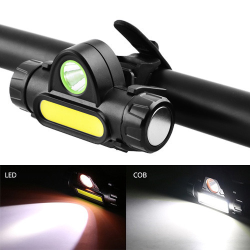 Фонарь велосипедный 872-XPE+COB, ЗУ micro USB, встроенный аккумулятор, диммер, магнит