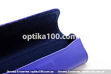 Шкіряний синій НЕОН футляр для окулярів. Натуральна шкіра, фото 3