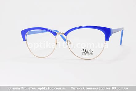 Синя жіноча оправа для окулярів з золотистим обідком. На невелике обличчя!, фото 2