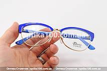 Синя жіноча оправа для окулярів з золотистим обідком. На невелике обличчя!, фото 3