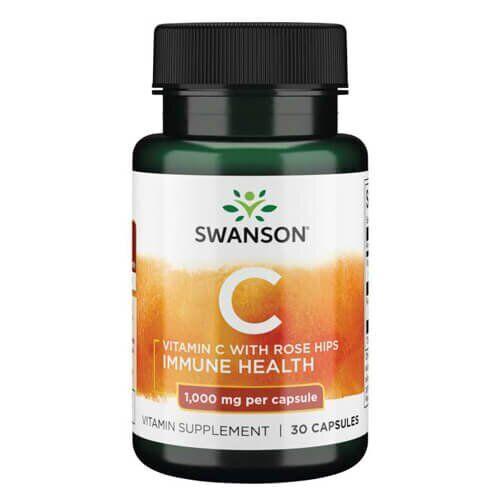 Витамин C, Swanson Vitamin C with Rose Hips 1000 mg  30 капсул