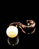 Необычное кольцо на два пальца с большим жемчугом 17 размер