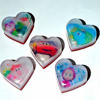 Детское натуральное мыло-сердечки с картинками мультяшных героев