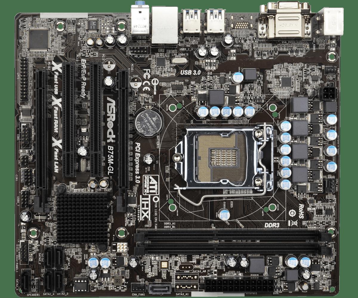 Материнська плата AsRock B75M-GL (s1155, Intel B75, PCI-Ex16) OEM Гарантія 3 місяці.