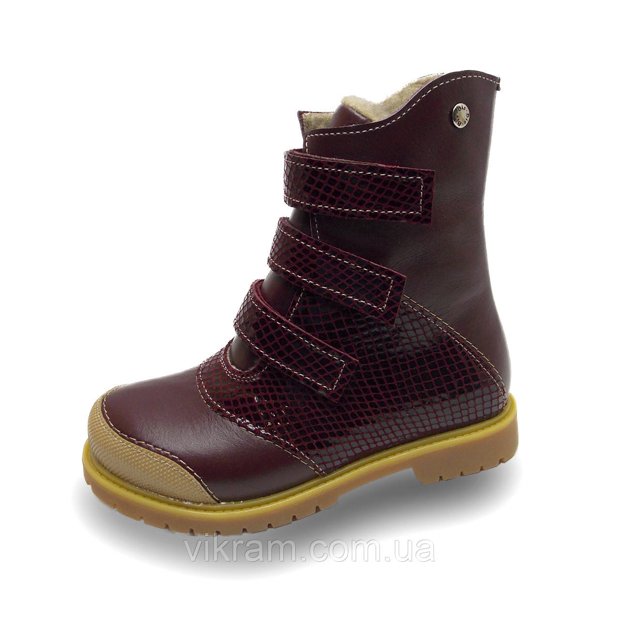 Зимние ортопедические ботинки с антиударным носиком ХАМЕР 2 бордовые