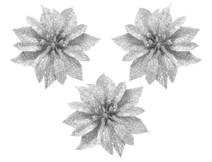 """Набор украшений на прищепке """"Цветок"""", 3 шт., 8,5 см., серебристый"""