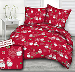 """Стандартний клапоть тканини 40*40 см """"Гноми і сріблясті сніжинки: ягоди, посох, подарунки"""" на червоному, фото 4"""