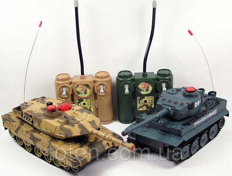 Танковый бой 508-10 Huan Qi 2 танка Abrams и Tiger на радиоуправлении. 2 пульта. по 4 жизни.