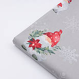"""Тканина новорічна """"Гноми на ковзанах і сріблясті сніжинки"""" на сірому тлі №3046, фото 3"""